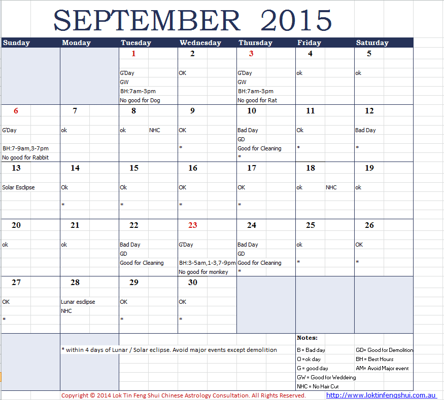 good days bad days in september 2015 chi yung office feng shui