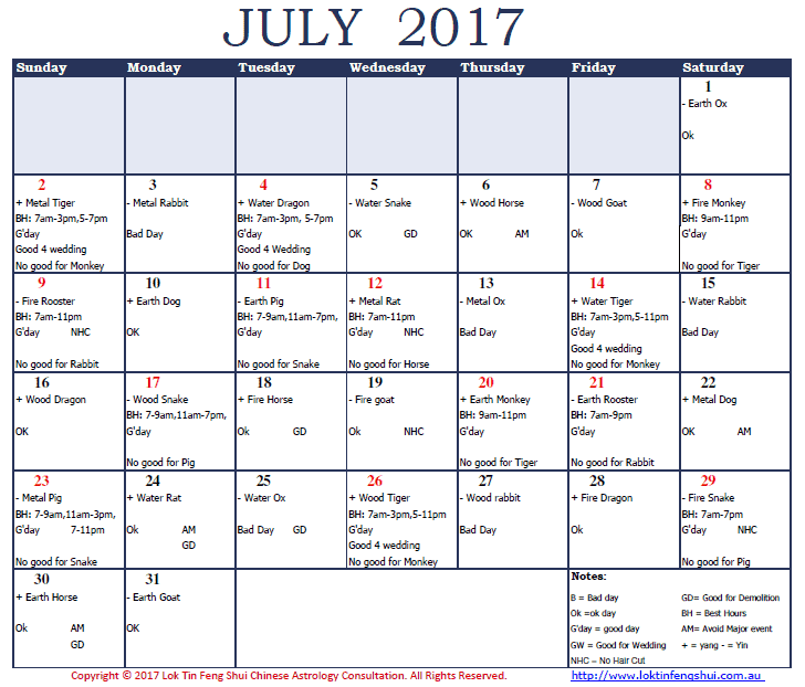 Good Days and and Bad Days in July 2017 Year of the Rooster