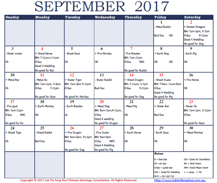 Good and Bad days in September 2017, Rooster Month, Rooster Year.