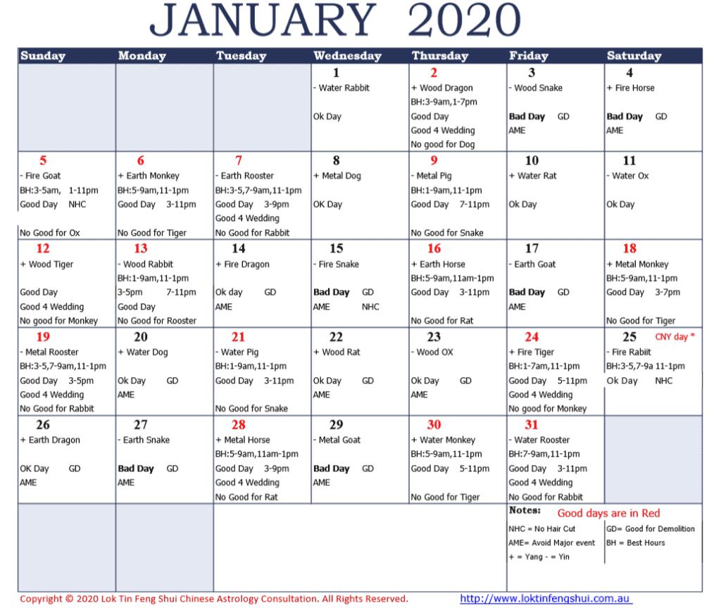 Feng Shui Good Bad Days January 2020
