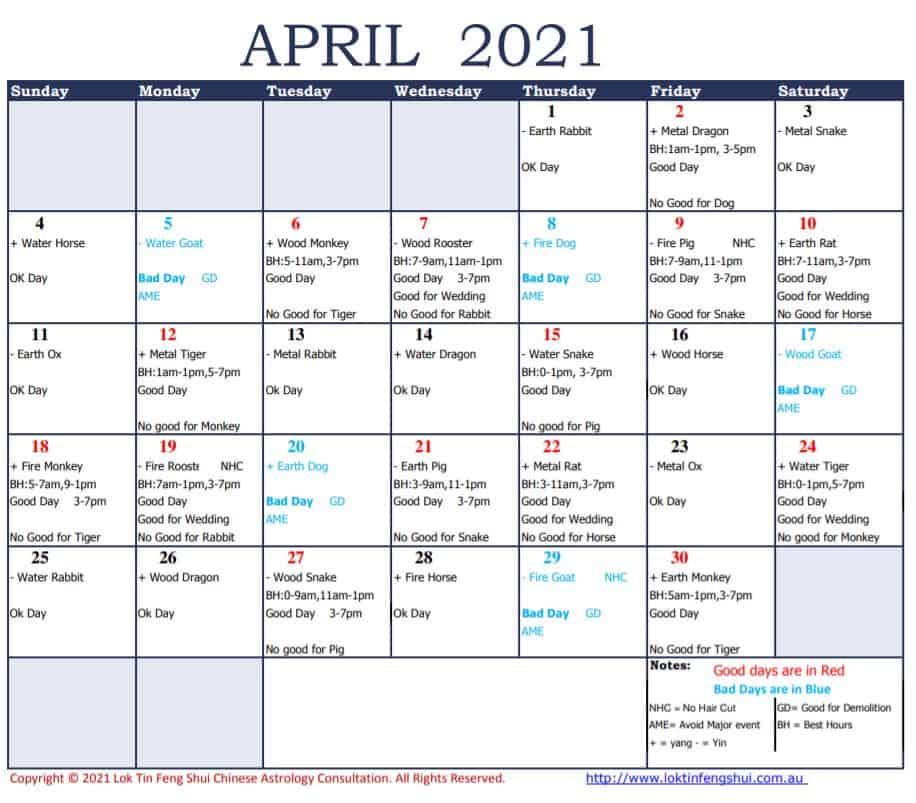 Feng Shui April 2021 Good Days Bad Days
