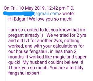 Feng shui fertility client feedback Feng shui pregnancy works.